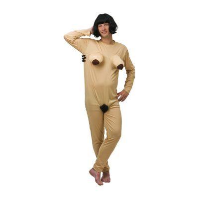 Maskeraddräkt föreställandes en naken kvinna med hår under armarna och mellan benen. Dräkten är en byxdress som är enkel att använda. Hudfärgen är ljus.
