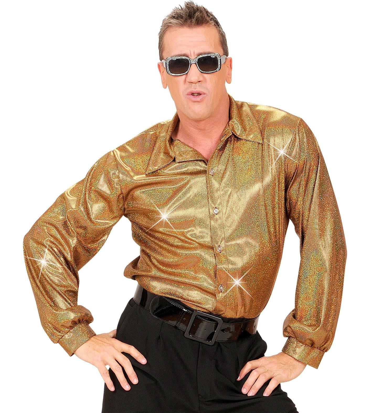 Glittrig skjorta guld M-L
