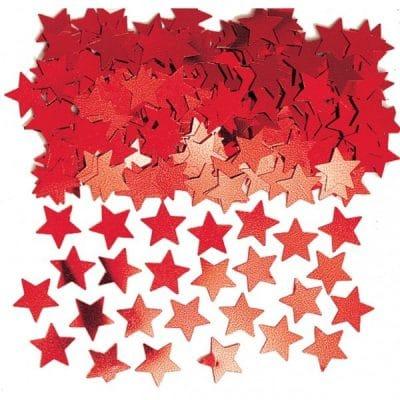 Konfetti röda stjärnor är snygga till dukning med tema USA, 4:th of July eller superhjältetema.