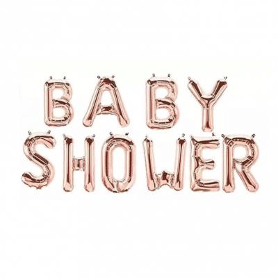 Skimrande ballonggirlang i folie i bokstäver som stavar Baby Shower. Innehåller 10 st bokstavsballonger, ett snöre och ett sugrör och varje bokstav är ca 40 cm hög.