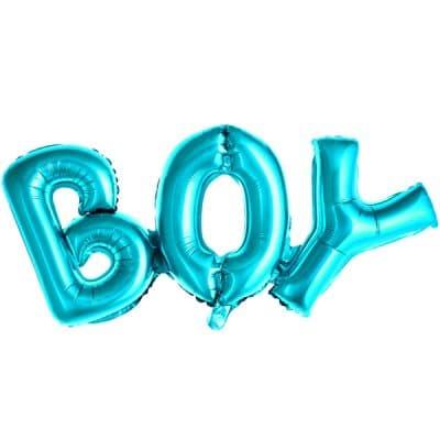 Baby shower ballonggirlang i blå bokstsäver i texten BOY. Girlangen är 67 cm lång och 29 cm hög. Fyls med luft med ett sugrör.