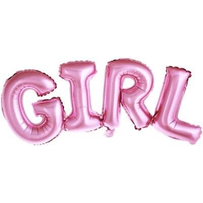 Baby shower ballonggirlang i rosa bokstsäver i texten GIRL. Girlangen är 74 cm lång och 33 cm hög. Fyls med luft med ett sugrör.