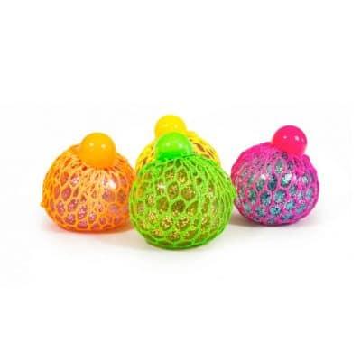 Häftig lysande klämboll med nät i neonfärg med glitter i.