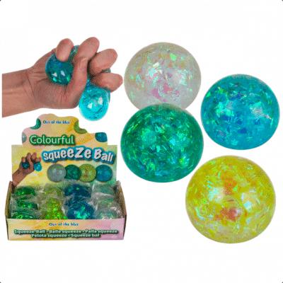 Skimrande klämboll full med glitter och skön vätska som gör den perfekt so stressboll och leksak till barnen.