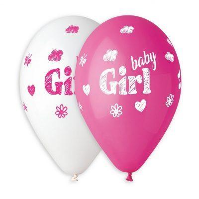 Rosa och vita Baby Shower ballonger med texten Baby Girl på. KOmmer i 5-pack, är tillverkade i latex och blir ca 30 cm i diameter uppblåsta.