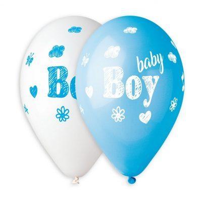 Fempack Baby Shower ballonger i färgerna vitt och blått med texten Baby Boy. Ballongerna är tillverkade i latex och är ca 30 cm stora uppblåsta.