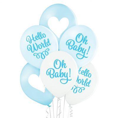 Baby Shower ballonger i 6-pack i färgerna ljusblått och vitt med texten Oh Baby. Ballongerna är tillverkade i latex och blir ca 30 cm i diameter.
