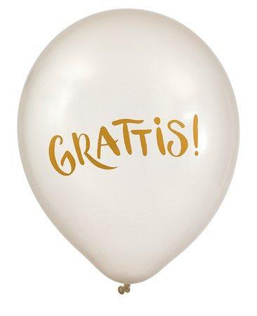Skimrande pärlemovita ballonger i 6-pack med guldig text på i ordet Grattis. Passar till födelsedagsfriande och student.