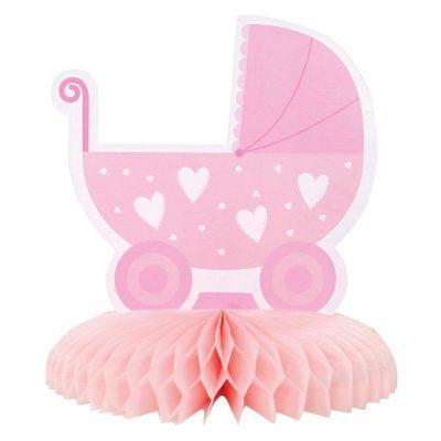 Baby shower dekoration för bord. Bordsdekorationen består av en rosa barnvag som står på en solfjäder i papper och är 16 cm hög..