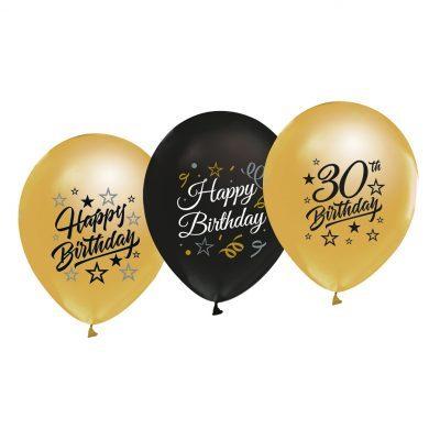 30-års ballonger i 5-pack i färgerna guld och svart med texten Happy Birthday och 30 Birthday. Ballongerna har en storlek på ca 30 cm i diameter.