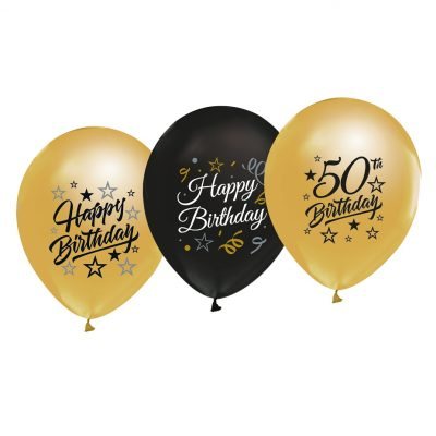 5-pack med latexballonger i färgerna guld och svart. Ballongerna passar till 50-års fest då de har tryck med Happy birthday och 50 Birthday. Ballongernas storlek är 30 cm i diameter uppblåsta.