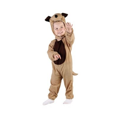 Maskeraddräkt för barn föreställandes en brun gund. Består av en byxdress med avtagbar svans och en huvudbonad i form av ett gulligt hundhuvud.