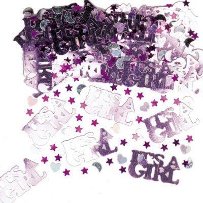 14 gram Baby Shower konfetti i rosa med hjärtan, månar och stjärnor samt texten It's a Girl.