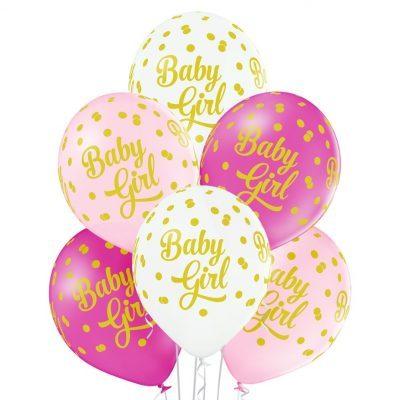 Rosa Baby Shower ballonger i 6-pack med texten Baby Girl. Paketet innehåller 2 ljusrosa, 2 rosa och två vita ballonger som alla är 30 cm i diameter.