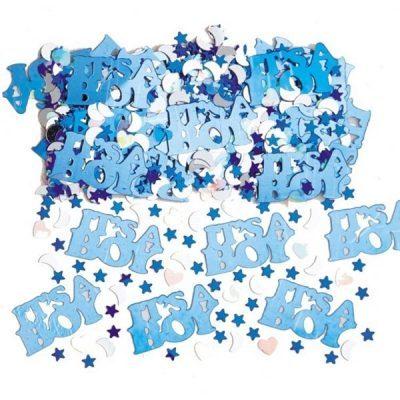 14 gram baby shower konfetti med mås månar, hjärtan och stjärnor samt texten It's a Boy, allt i ljusblått.